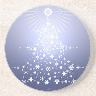 雪片のクリスマスツリーのコースターの青 コースター