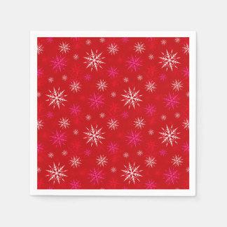 雪片のデザインのクリスマスの紙ナプキン スタンダードカクテルナプキン