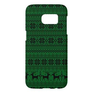 雪片のトナカイのクリスマスパターンクリスマスのセーター SAMSUNG GALAXY S7 ケース