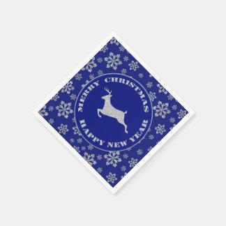雪片のトナカイの銀の青 スタンダードカクテルナプキン