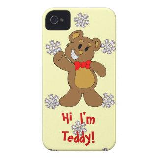 雪片のパターン、こんにちは、私はテディです Case-Mate iPhone 4 ケース