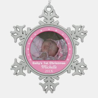 雪片のピンクの写真のオーナメント スノーフレークピューターオーナメント
