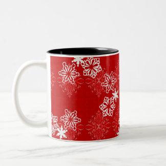 雪片のブロケードのマグ ツートーンマグカップ