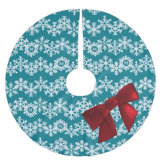 雪片のモノグラムの大きく赤い弓、ティール(緑がかった色)のシェブロン ブラッシュドポリエステルツリースカート