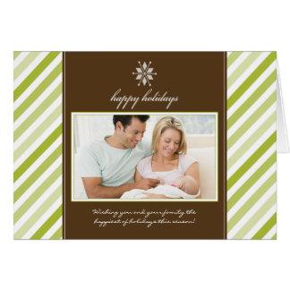 雪片のリボン家族の休日カード(ライム) カード