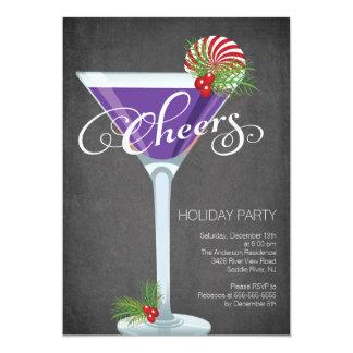 雪片の休日のカクテルのパーティの招待状 カード