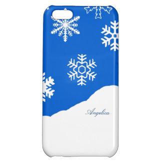雪片の休日の冬の不思議の国の名前をカスタムする iPhone5Cカバー