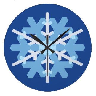 雪片の円形の時計-青 ラージ壁時計