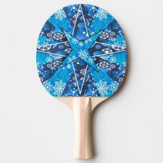 雪片の冬の芸術的な絵 卓球ラケット