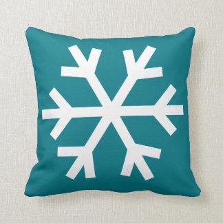 雪片の枕-ティール(緑がかった色) クッション