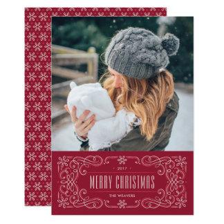 雪片の華麗さフレームの休日カード-クランベリー カード