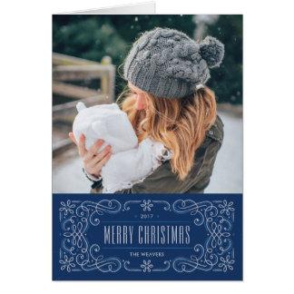 雪片の華麗さフレームの休日カード-コバルト カード