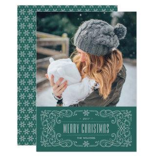 雪片の華麗さフレームの休日カード-ティール(緑がかった色) カード