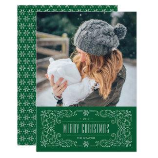 雪片の華麗さフレームの休日カード-マツ カード