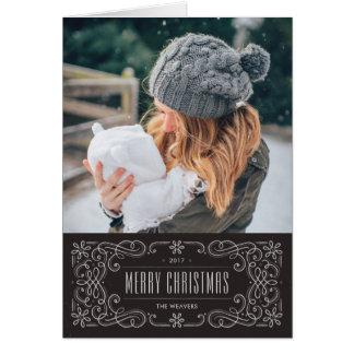 雪片の華麗さフレームの休日カード-石板 カード