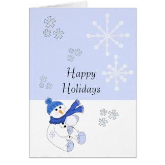 雪片の落下を用いる青の雪だるま グリーティングカード