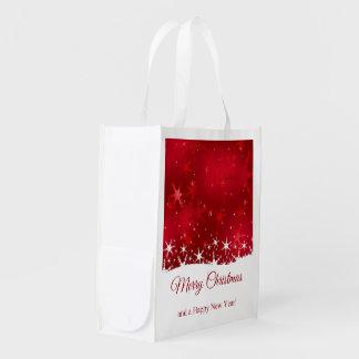 雪片の赤いメリークリスマス-エコバッグ エコバッグ