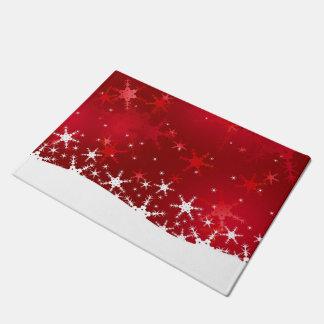 雪片の赤いメリークリスマス-玄関マット ドアマット