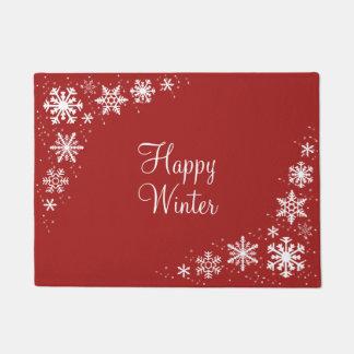 雪片の赤く白い冬の玄関マット ドアマット
