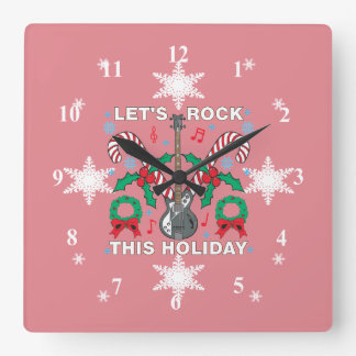雪片の醜いセーターはこの休日石を可能にします スクエア壁時計