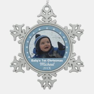 雪片の青い写真のオーナメント スノーフレークピューターオーナメント