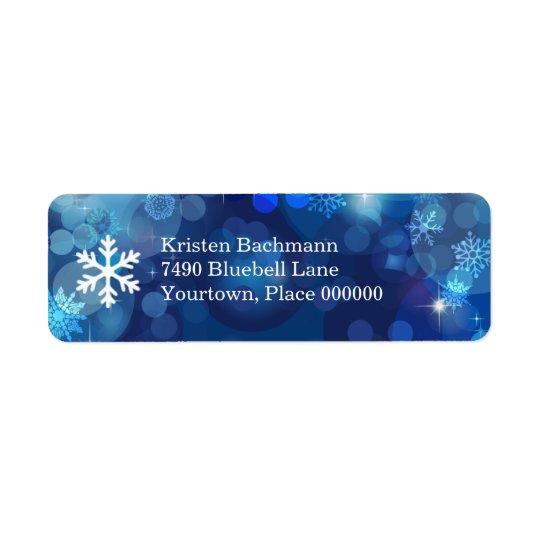 雪片の青い《写真》ぼけ味の冬 返信用宛名ラベル