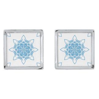 雪片の青 シルバー カフスボタン