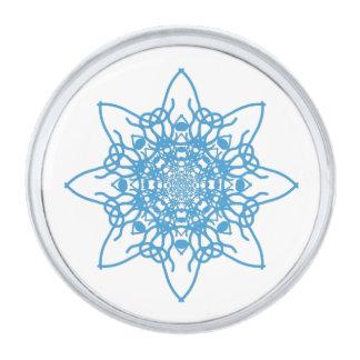 雪片の青 銀色 ラペルピン