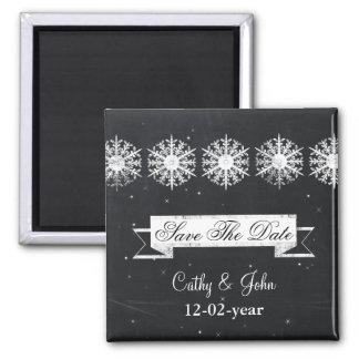 雪片の黒板の冬の保存日付の磁石 マグネット