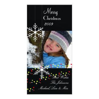 雪片の~の白黒クリスマス カード