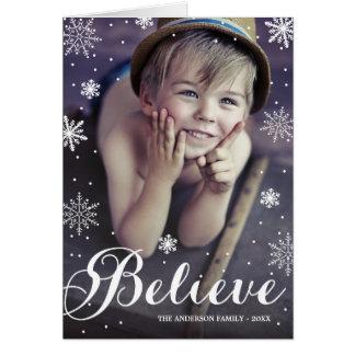 雪片の 折られた休日の挨拶状を信じて下さい カード