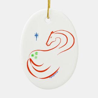 雪片のAppaloosaの馬のクリスマスのオーナメントの楕円形 セラミックオーナメント