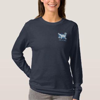 雪片のRedboneのCoonhoundによって刺繍されるワイシャツ 刺繍入り長袖Tシャツ