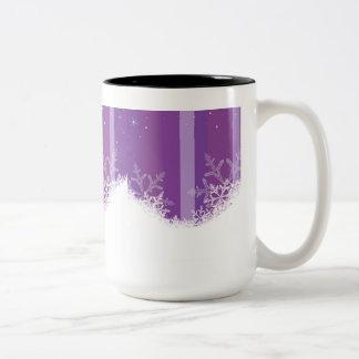 雪片は3つを縞で飾ります ツートーンマグカップ