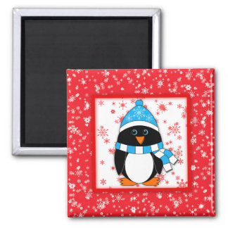 雪片を持つペンギン マグネット