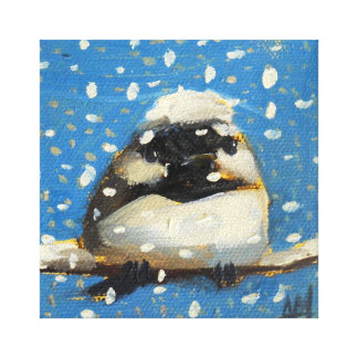 雪片を持つ冬の《鳥》アメリカゴガラ キャンバスプリント