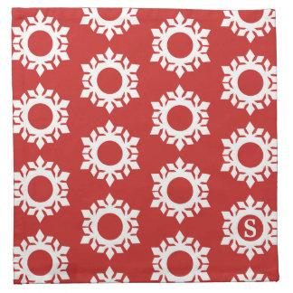 雪片パターンモノグラムの赤い布のナプキン ナプキンクロス