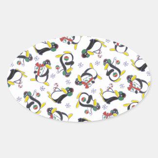 雪片及びペンギンのステッカー 楕円形シール
