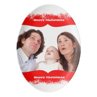 雪片家族の写真テンプレートあなたの写真 磁器大皿
