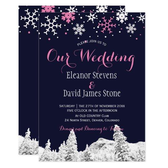 雪片海軍ピンクの冬の森林結婚式 カード