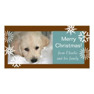 雪片犬のクリスマスの写真はブラウンの青を梳きます カード