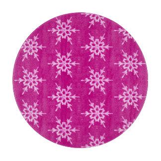 雪片、マゼンタの淡いピンクの水晶 カッティングボード