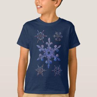 雪片、刺繍された一見 Tシャツ