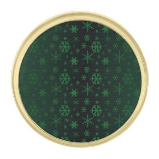 雪片-緑 ゴールド ラペルピン