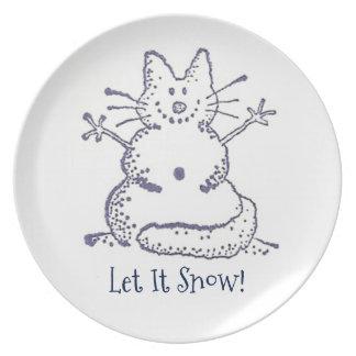 雪猫はそれがメラミン雪が降るようにしました プレート
