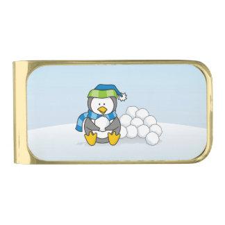 雪玉と坐っている小さいペンギン 金色 マネークリップ