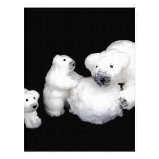 雪玉と遊ぶ白くま家族の置物 レターヘッド