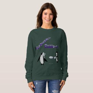 雪玉の戦いのペンギンの女性スエットシャツ スウェットシャツ