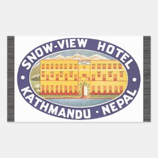 雪眺めのホテルカトマンズネパールのヴィンテージ 長方形シール