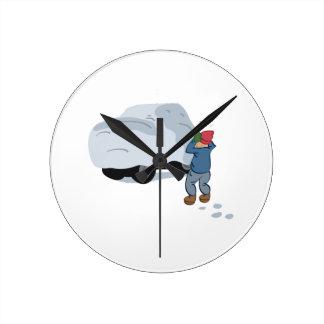 雪車 ラウンド壁時計